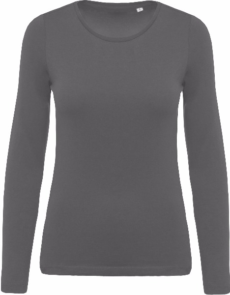 Tee shirt T-shirt Coton Bio Col Rond Manches Longues Femme K392 5