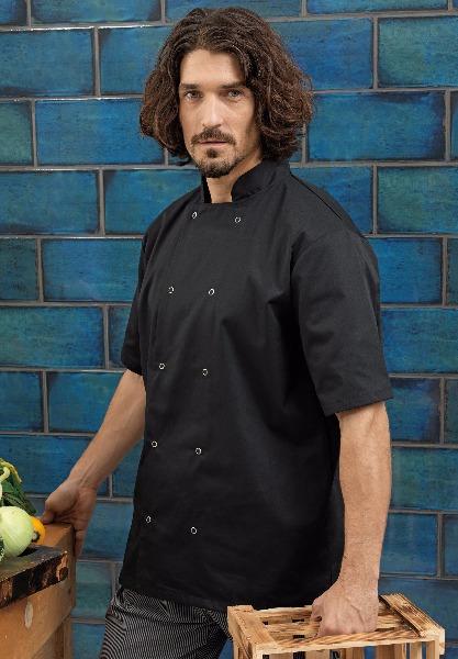 Veste de cuisine manches courtes boutons pression pr664 v tement de travail textiles - Vetement de travail cuisine ...